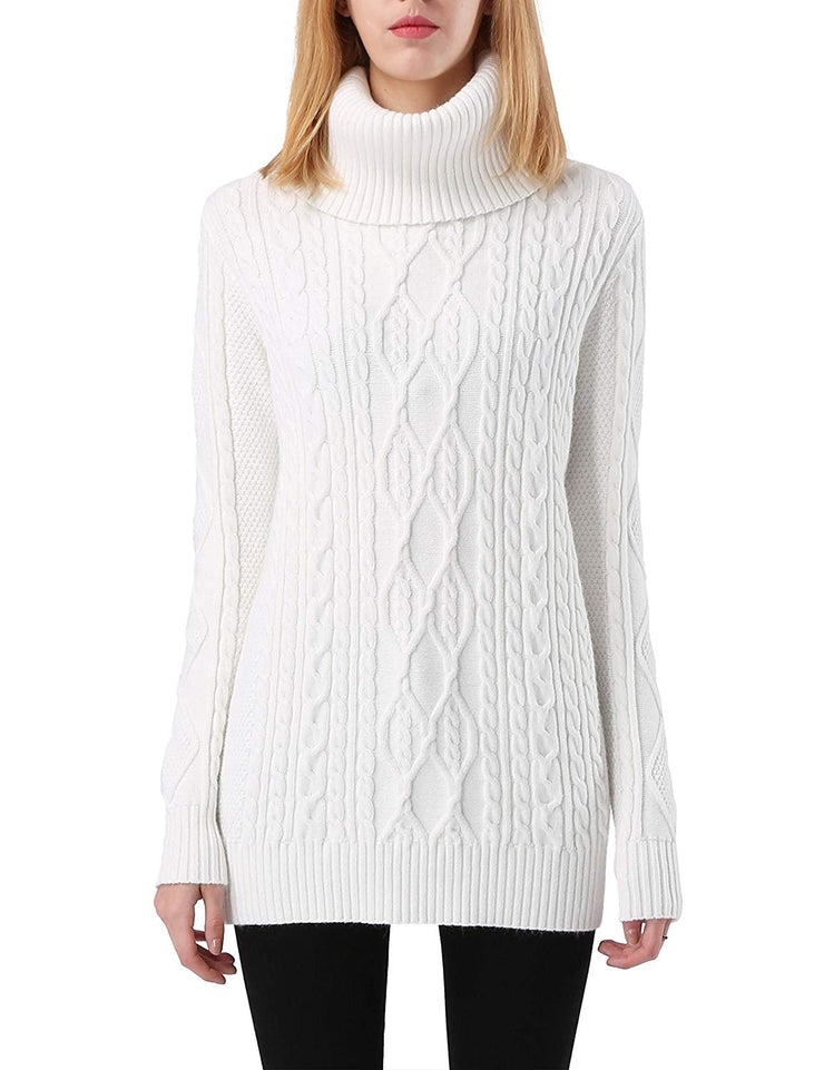 PrettyGuide Women's Long Sweater Turtleneck Cable Knit Tunic Sweater Tops