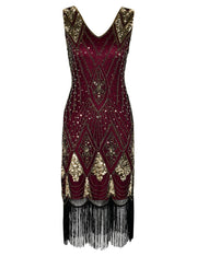 PrettyGuide Women 1920s Gatsby Cocktail Sequin Art Deco Flapper Dress 2539