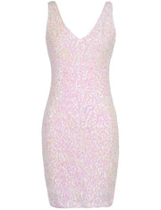 PrettyGuide Women Sexy Deep V Neck Sequin Glitter Bodycon Stretchy Mini Party Dress