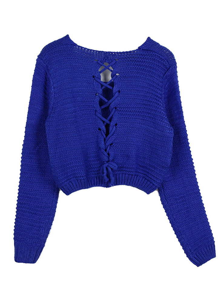 PrettyGuide Women's Sweater Long Sleeve Eyelet Cable Lace Up Crop Top