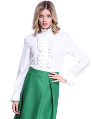 PrettyGuide Women Retro Stand Up Collar Lotus Ruffle Victoria Shirts Blouse