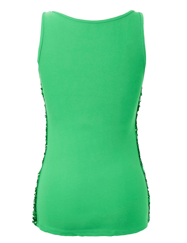 PrettyGuide Women's Shimmer Glam Sequin Embellished Sparkle Tank Top Vest Tops