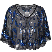 PrettyGuide Women Evening Cape Sequin Deco Paisley 1920s Shawl Flapper Cover up