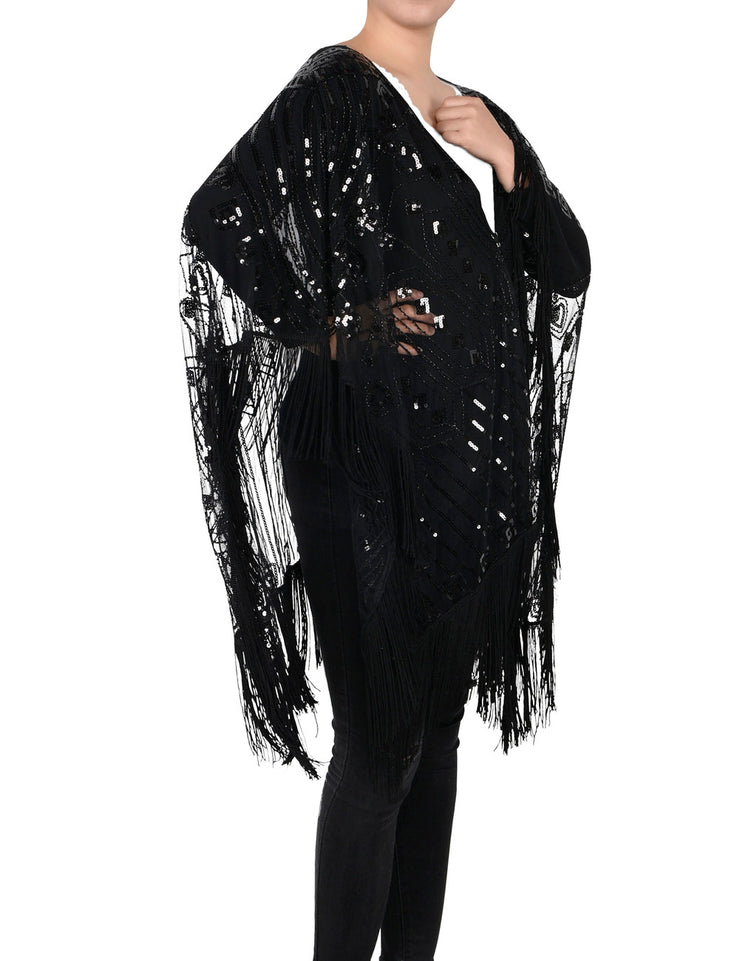 PrettyGuide Women's Evening Shawl Beaded 1920s Cape Poncho Fringed Cover up