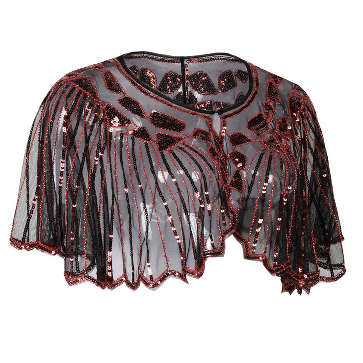 PrettyGuide Women's 1920s Shawl Beaded Sequin Deco Evening Cape Bolero Flapper Cover up