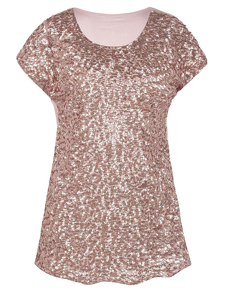PrettyGuide Women's Sequin Top Shimmer Glitter Loose Bat Sleeve Party Tunic Tops