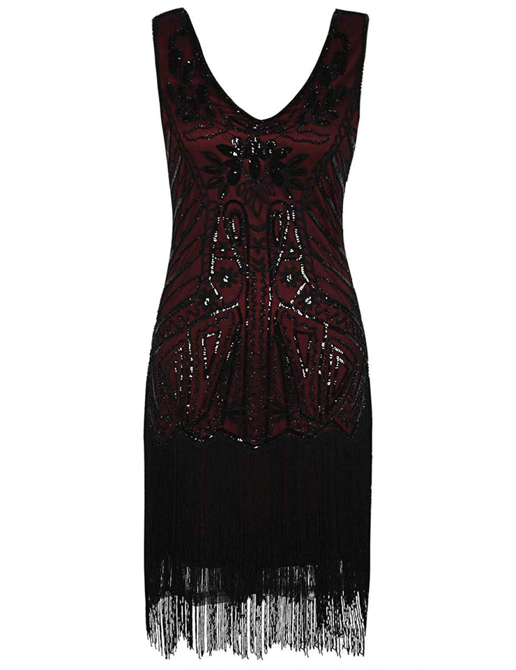PrettyGuide Women's Flapper Dress Floral Embroidery Sequin Fringed Cocktail 1920s Dress