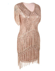 PrettyGuide Women's Flapper Dress Weaving Fringed Sequined 1920s Inspired Cocktail Dress