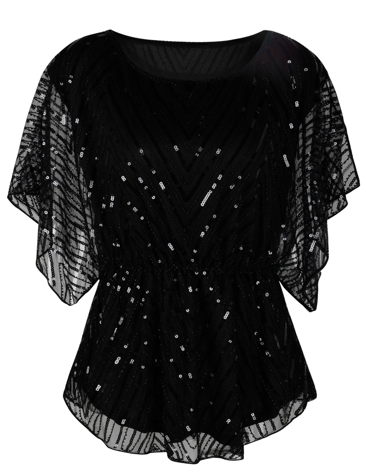 PrettyGuide Women's Sequin Blouse Tops Sparkly Beaded Evening Formal Party Dressy Tops