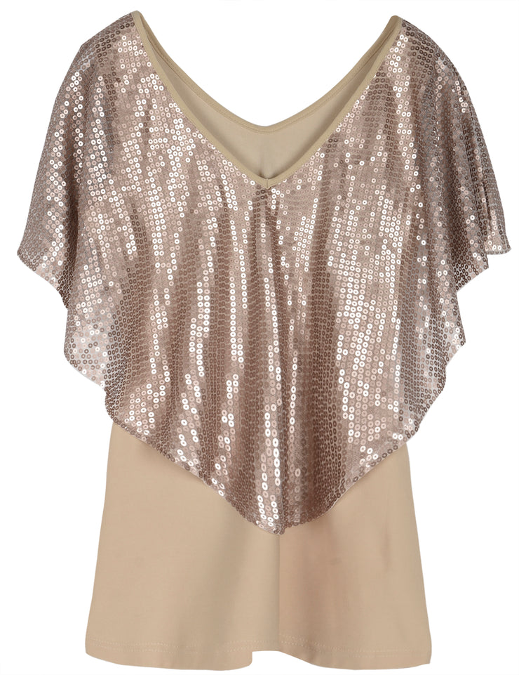 PrettyGuide Women's Tunic Tops Sequin Overlay Cold Shoulder Glitter Cocktail Party Blouse Top