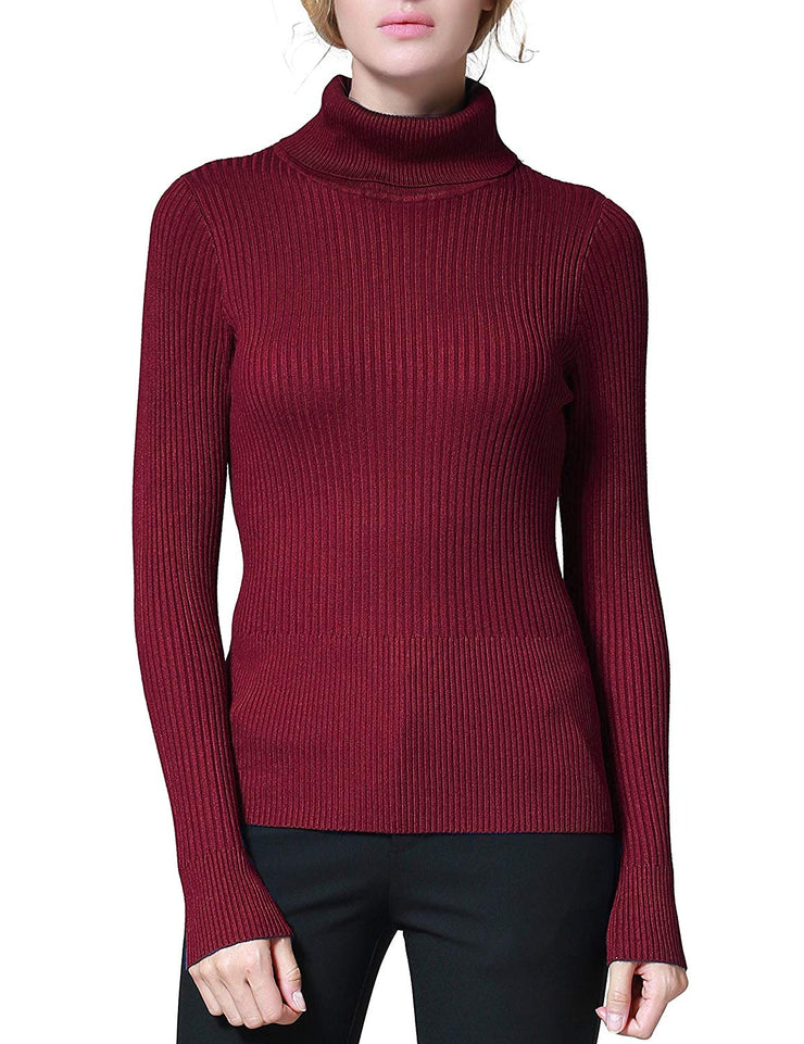 PrettyGuide Women's Ribbed Turtleneck Long Sleeve Sweater Tops