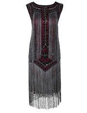 PrettyGuide Women's 1920s Dress Vintage Beaded Fringed Inspired Flapper Dress
