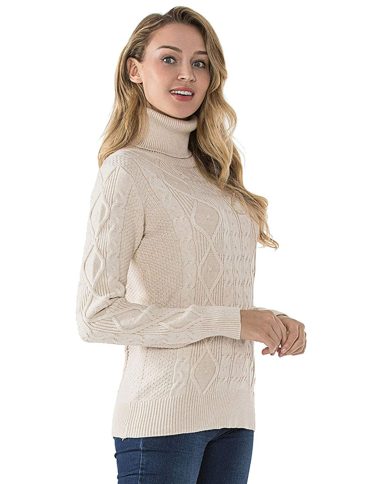 PrettyGuide Women's Turtleneck Sweater Long Sleeve Cable Knit Sweater Pullover Tops