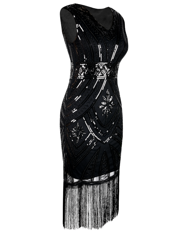 PrettyGuide Women's 1920s Flapper Dress Glam Sequin Inspired Beaded Cocktail Dress