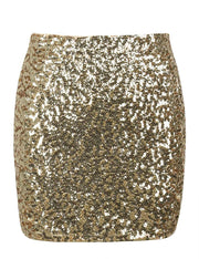 PrettyGuide Women's Sequin Skirt Stretchy Bodycon Sparkle Mini Skirt Night Out