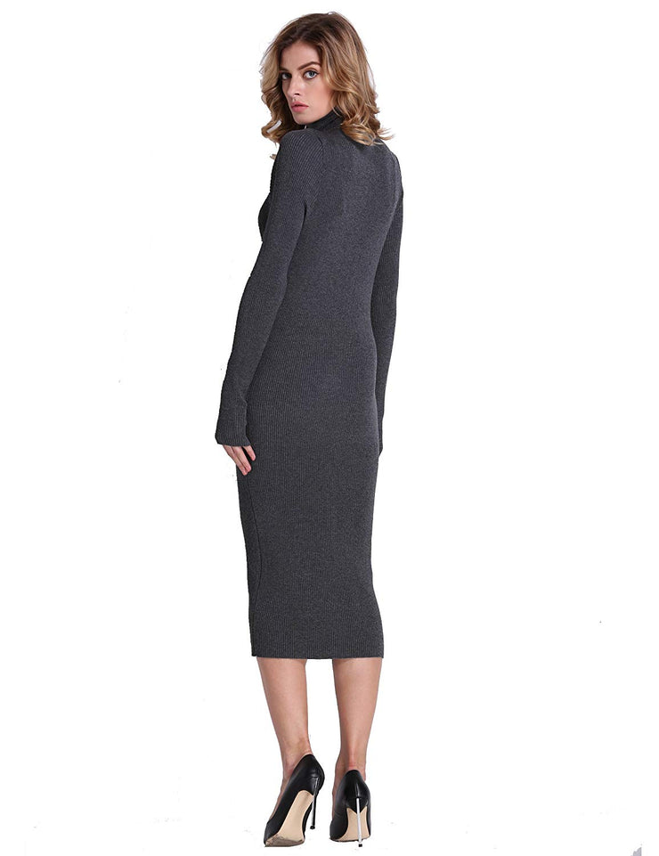 PrettyGuide Women Slim Fit Ribbed Turtleneck Long Sleeve Maxi Knit Sweater Dress