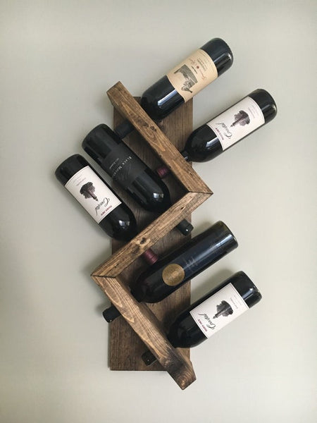 Zig Zag Wine Rack, Z Geometric Rustic Wood Wall Mounted Wine Bottle Display Chunky Primitive by DistressedMeNot