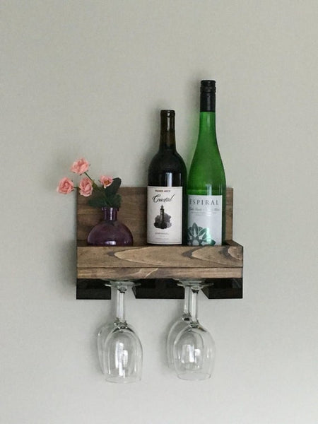 Wood Wine Rack Shelf & Stemware Glass Holder Organizer Unique Bar Shelving Rustic Wedding Gift by DistressedMeNot