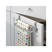 Load image into Gallery viewer, Storage organizer binovery metal modern kitchen over cabinet double towel bar rack hang on inside or outside of doors storage and organization for hand dish tea towels 9 75 wide 2 pack silver