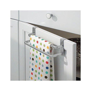 Storage organizer binovery metal modern kitchen over cabinet double towel bar rack hang on inside or outside of doors storage and organization for hand dish tea towels 9 75 wide 2 pack silver