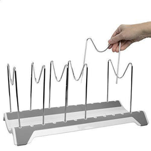 Shop domajax dish drying rack pot rack pots drying rack pot lid organizer for kitchen counter sink cabinet