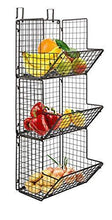 Load image into Gallery viewer, Great hanging fruit basket rustic shelves metal wire 3 tier wall mounted over the door organizer kitchen fruit produce bin rack bathroom towel baskets fruit stand produce storage rustic decor shabby chic