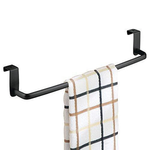 Latest mdesign kitchen storage over cabinet curved steel towel bar hang on inside or outside of doors for organizing and hanging hand dish and tea towels 14 wide pack of 2 matte black finish