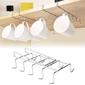 Organize with wellobox coffee mug holder under cabinet cup hanger rack stainless steel hooks cup rack under shelf for bar kitchen storage fit for the cabinet