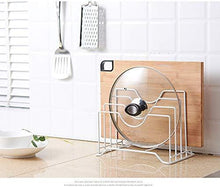 Load image into Gallery viewer, Featured haga pot lid organizer kitchen shelf pan rack cutting board holder storage pot lid organizer stands tapas cover stand stainless steel dish kitchen rack white