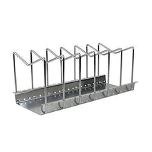 Load image into Gallery viewer, Storage zoomy far 304 stainless steel pot lid rack pan cutting board holder organizer for kitchen 6 compartments with drain tray