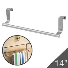 Load image into Gallery viewer, Best seller  over cabinet towel bar with hooks 14 brushed stainless steel towel rack for bathroom and kitchen with 22 lbs maximum load