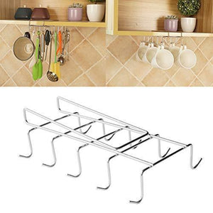 Products wellobox coffee mug holder under cabinet cup hanger rack stainless steel hooks cup rack under shelf for bar kitchen storage fit for the cabinet
