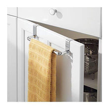Load image into Gallery viewer, Products mdesign kitchen over cabinet metal towel bar hang on inside or outside of doors for hand dish and tea towels 9 75 wide 2 pack chrome