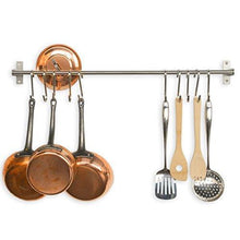 Load image into Gallery viewer, Shop adtwixt stainless steel gourmet kitchen wall rail with 10 large s hooks 1
