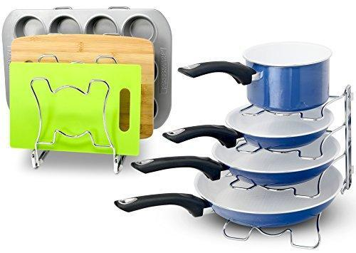 Cheap 2 pack arcafest kitchen cabinet pan and pot cookware organizer rack holder chrome