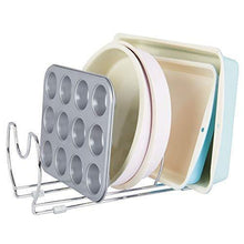 Load image into Gallery viewer, Great mallize metal wire pot pan organizer rack for kitchen cabinet pantry shelves 6 slots for vertical or horizontal storage of skillets frying or sauce pans lids baking stones