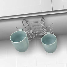 Load image into Gallery viewer, Save blikke decorative kitchen mounted under cabinet or or over the shelf rack holder for hanging coffee mugs and tea cups 10 x 8 5 x 3 inches chrome