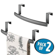 Load image into Gallery viewer, Discover the best mdesign modern metal kitchen storage over cabinet curved towel bar hang on inside or outside of doors organize and hang hand dish and tea towels 9 7 wide 2 pack graphite gray