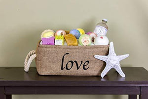 Top rated lillys love storage baskets organizer set 3 pack burlap nesting popular canvas storage bins for closet kitchen or bathroom organizing