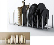 Load image into Gallery viewer, Best seller  brightmaison kitchen pot lid plate holder rack stainless steel 8 sectional adjustable length accordion style can be extended to 30