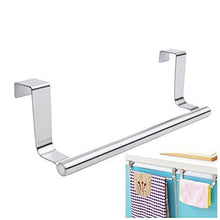 Load image into Gallery viewer, Heavy duty mziart modern towel bar with hooks for bathroom and kitchen brushed stainless steel towel hanger over cabinet 9 inch