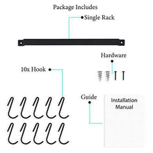 Load image into Gallery viewer, Save on wallniture gourmet kitchen rail with 10 hooks wall mounted wrought iron hanging utensil holder rack with black 17 inch