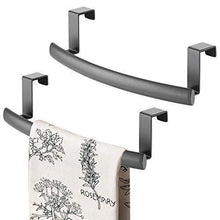 Load image into Gallery viewer, Discover the mdesign modern metal kitchen storage over cabinet curved towel bar hang on inside or outside of doors organize and hang hand dish and tea towels 9 7 wide 2 pack graphite gray