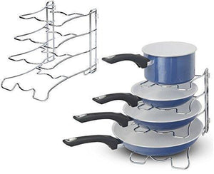 Exclusive 2 pack arcafest kitchen cabinet pan and pot cookware organizer rack holder chrome