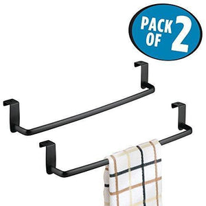 Heavy duty mdesign kitchen storage over cabinet curved steel towel bar hang on inside or outside of doors for organizing and hanging hand dish and tea towels 14 wide pack of 2 matte black finish