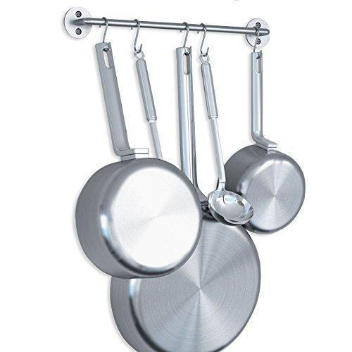 Try adtwixt gourmet kitchen rail rack pot pan lid organizer and 10 hooks 16 inch gray
