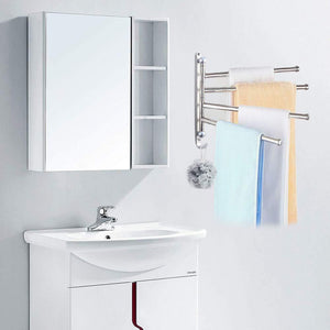 Storage swivel towel bar for bathroom swing arm towel rack forbedroom wall mounted stainless steel swivel bars 4 arm for kitchen entryway hanger holder organizer with hooks noble ball head styling design