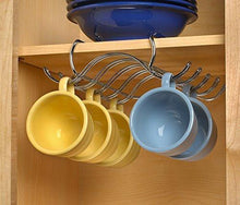 Load image into Gallery viewer, Results blikke decorative kitchen mounted under cabinet or or over the shelf rack holder for hanging coffee mugs and tea cups 10 x 8 5 x 3 inches chrome
