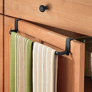 Home mdesign kitchen storage over cabinet curved steel towel bar hang on inside or outside of doors for organizing and hanging hand dish and tea towels 14 wide pack of 2 matte black finish