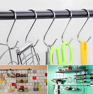 Organize with agilenano extra large s shape hooks heavy duty stainless steel hanging hooks multiple uses ideal for apparel kitchenware utensils plants towels gardening tools